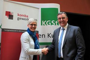 Ines Hansen, Programmbereichsleiterin Personalmanagement KGSt, und Andreas Hemsing, Landesvorsitzender komba gewerkschaft nrw (© Foto: komba gewerkschaft nrw)